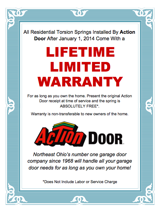 Lifetime Warranty Action Door Garage Door Company